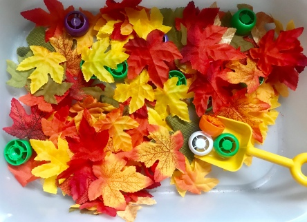 Harvest Sensory Bin - Autumn Leaves - Tot School