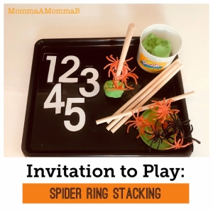 halloween tot school spider stacking