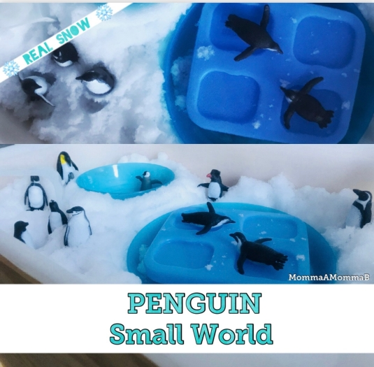 Penguins & Snow Sensory Bin